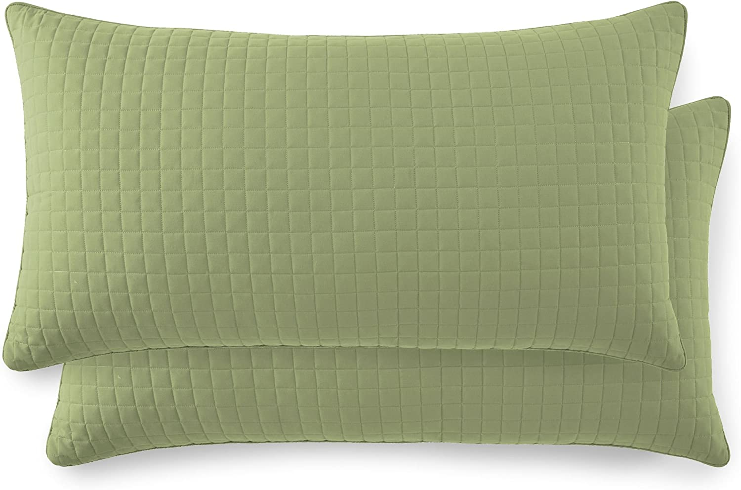 """Southshore Fine Linens - VILANO Springs - Pair of Quilted Pillow Sham Covers (No Inserts), 20"""" x 36"""", Sage Green"""