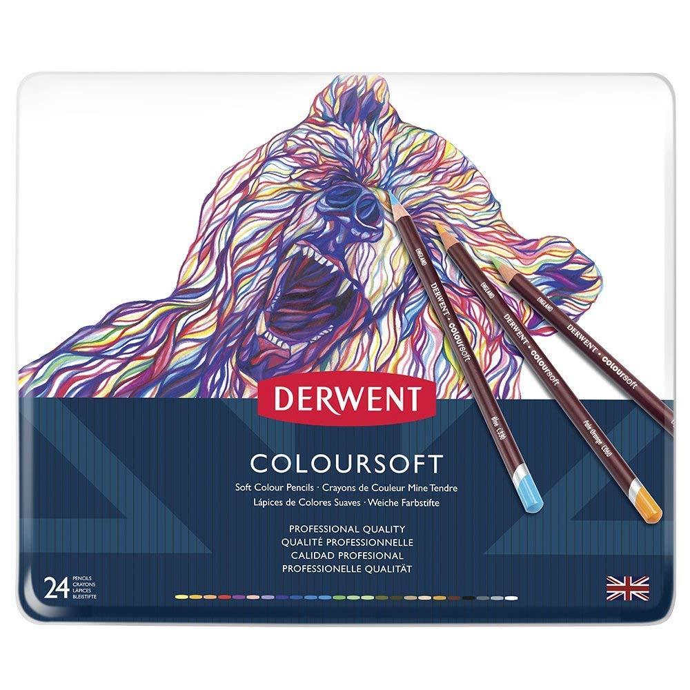 Set of 24 Derwent Coloursoft Colouring Pencils Tin