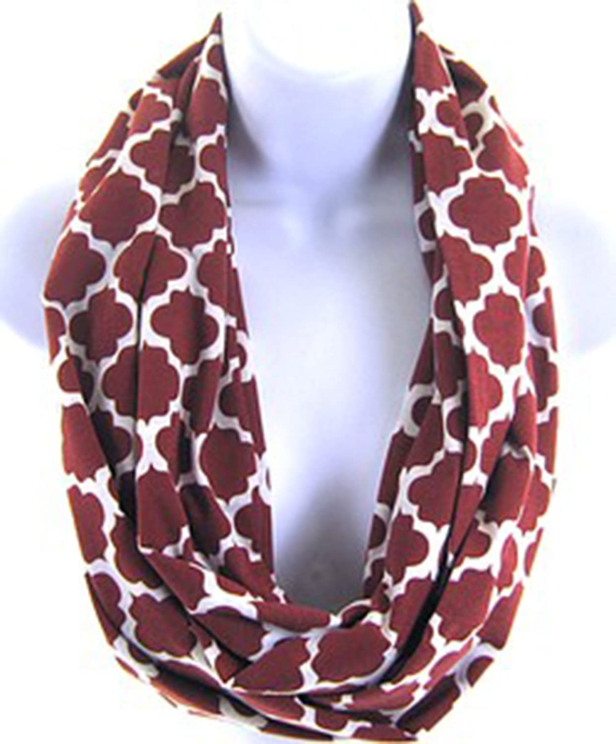 Quatrefoil Lattice Trellis Moroccan Print Infinity Double Loop Cotton Scarf Burgundy