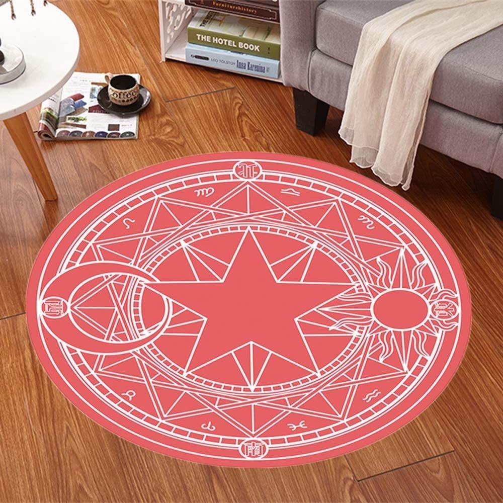 HOMEE Cartoon children round carpet bedroom computer chair carpet swivel carpet hanging basket mats (color, Size optional),100Cm,#2