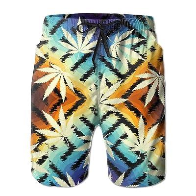 Men's Quick Dry Swim Trunks Rastafarian Colorful Hemp Leave Board Shorts With Pockets