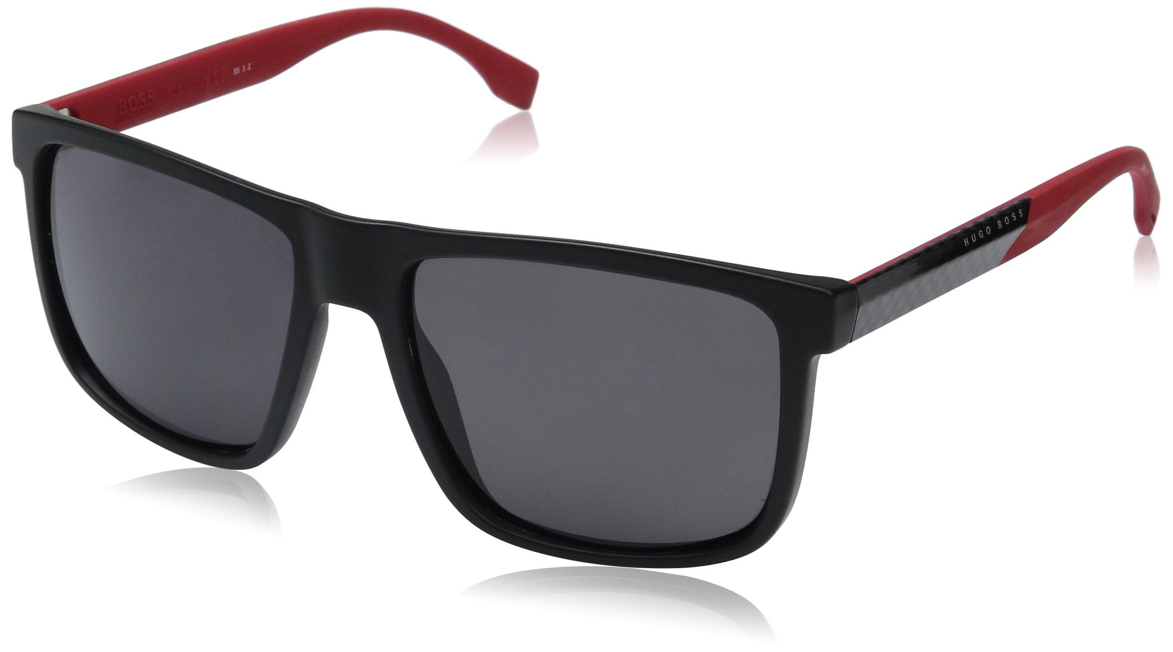 BOSS by Hugo Boss Men's B0879s Rectangular Sunglasses, Matte Black/Smoke Polarized, 57 mm