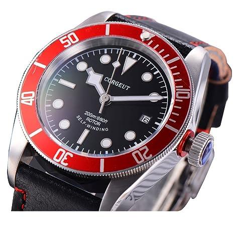b4f43e1b31 Amazon | corgeutサファイアガラス自動メンズ腕時計ブラックダイヤル光赤ベゼル自動日付 gold markers ブラック | メンズ腕時計  | 腕時計 通販