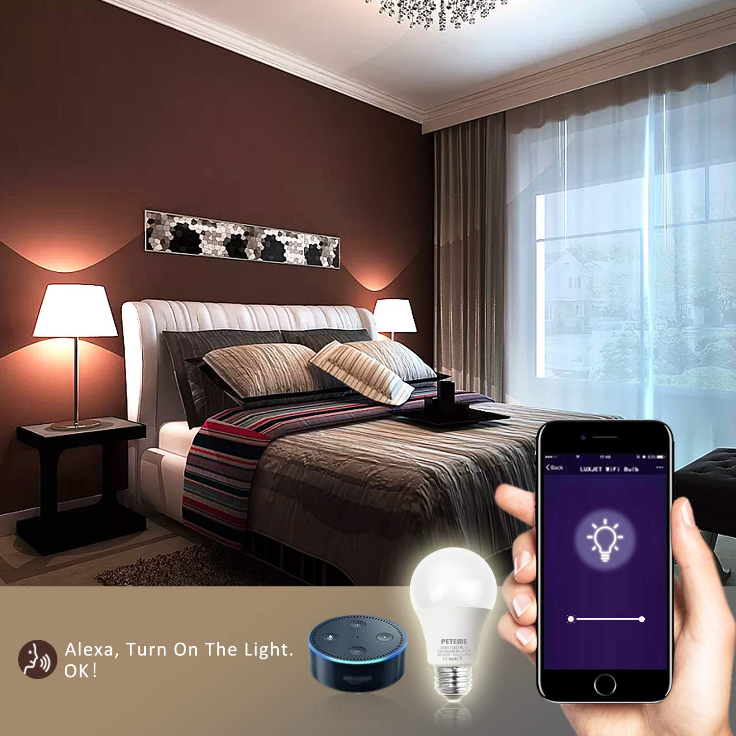 Smart LED Light Bulb E26 WiFi Multicolor Light Bulb Work with Siri,Alexa, Echo, Google Home and IFTTT (No Hub Required), Peteme A19 60W Equivalent RGB Color Changing Bulb (2 Pack) by Peteme (Image #5)