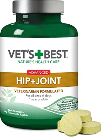 Vet's Best Advanced Hip & Joint Dog Supplements   Formulated with Glucosamine and Chondroitin to Support Dog Joint and Cartilage Health   90 Chewable Tablets, 90 Tablets