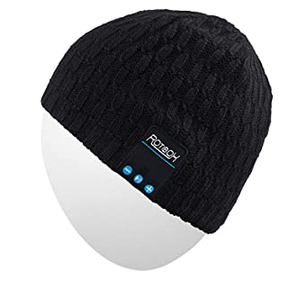 Qshell Bluetooth Beanie, Washable Winter Men Women Hat Running Cap with Bluetooth Stereo Headphones Mic Hands Free Rechargeable Battery for Outdoor Sports Snowboard Walking Running Skating- Black