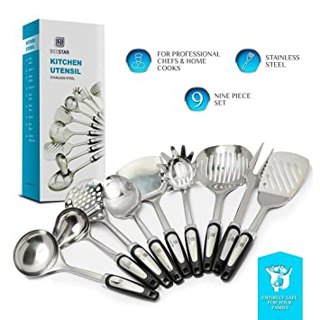 Home Kitchen Tools By BEESTAR | 9 Piece Kitchen Tool Set | Stainless Steel  Utensil |