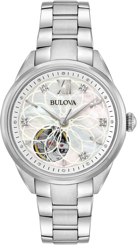 Bulova Reloj Analógico para Mujer de Automático con Correa en Acero Inoxidable 96P181
