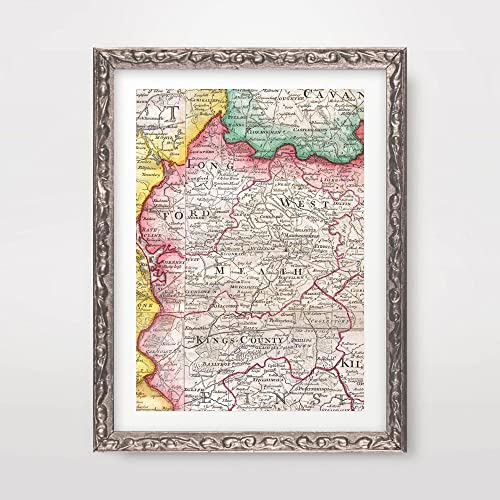 Westmeath Ireland Map.Amazon Com Westmeath County Ireland Irish Map Vintage Antique