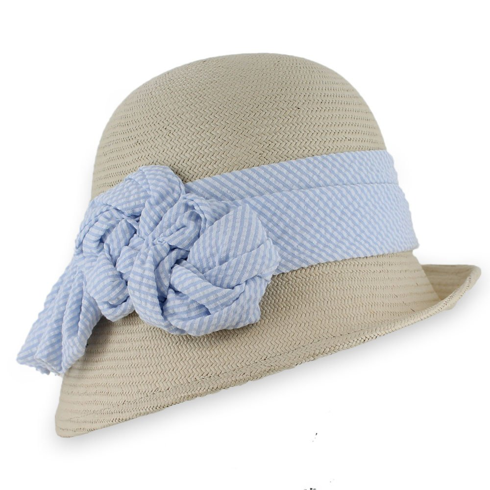 Hats in the Belfry Mackey - Toyo Seersucker Cloche