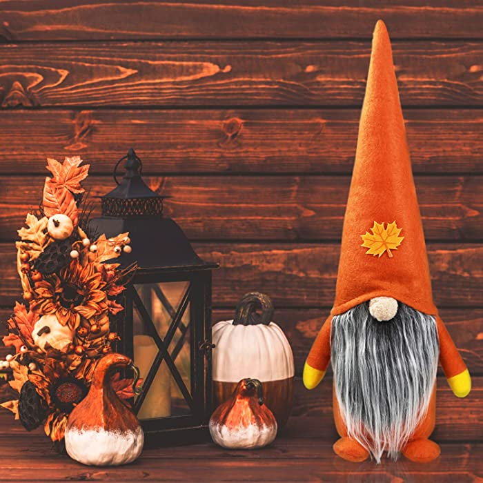 Fall Thanksgiving Gnome Plush- Thanksgiving Decorations- Large Handmade Swedish Tomte Decor- Thanksgiving Plush Elf Doll Gnome Ornament- Fall Thanksgiving Holiday Home Decor Thanksgiving Gift-15.7inch