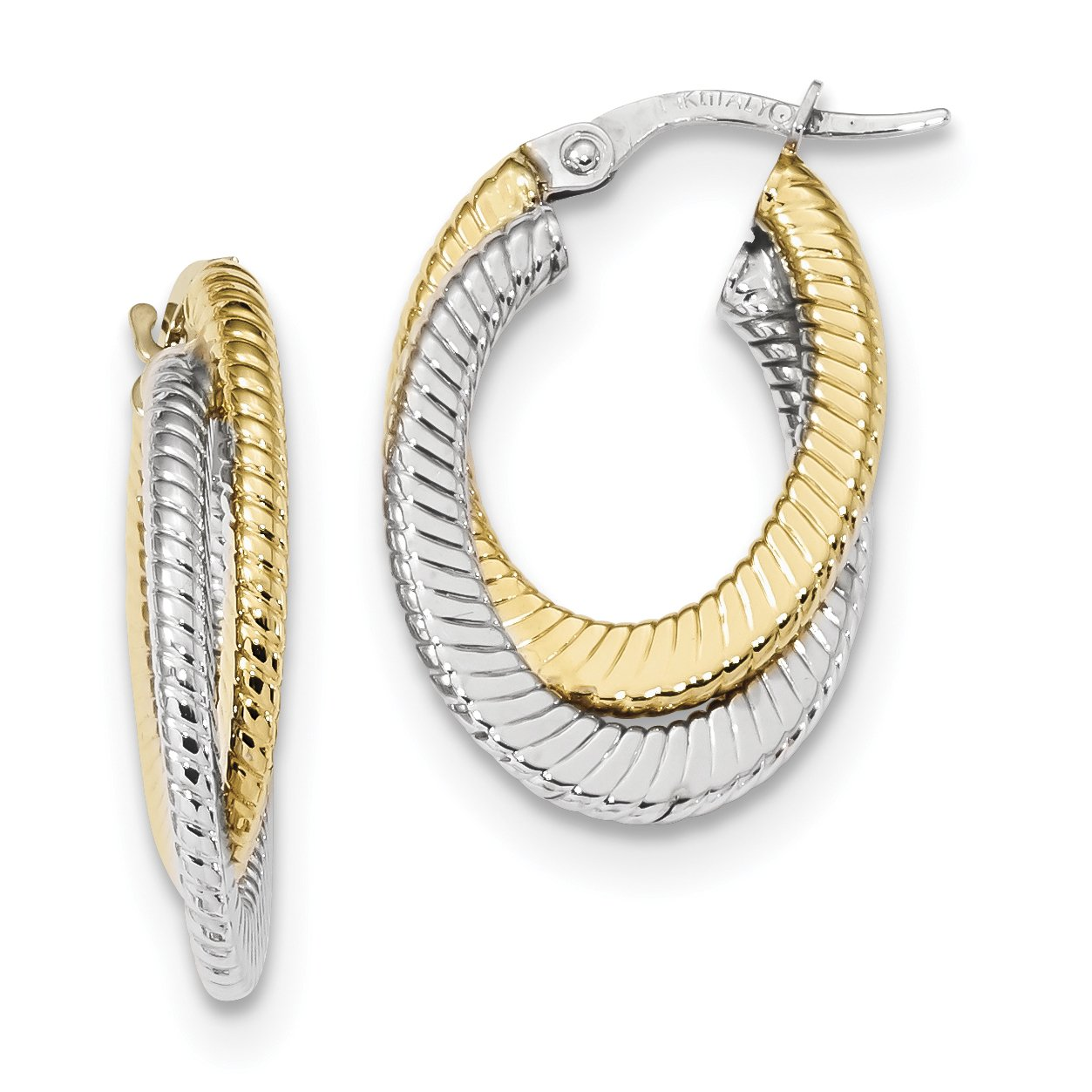 ICE CARATS 14k Two Tone Yellow Gold Textured Double Oval Hoop Earrings Ear Hoops Set Fine Jewelry Gift Set For Women Heart by ICE CARATS (Image #1)