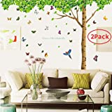 壁紙 「2点お得セット」 - 取り外し可能特大サイズ7.4(h)X 9.7(w)壁シール 蝶(40個)と木と鳥壁紙 ホーム、子供、客間子供、寝室などの壁飾りに適用されます - 「DAGO-Mart品質保証」