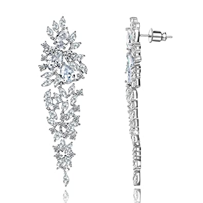 31b665880689f Yellow Chimes A5 Grade Crystal White Diamond Sparkle Drop Earrings for  Women and Girls
