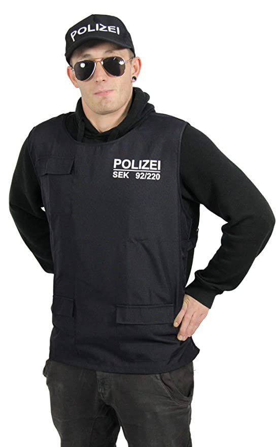 FOXXEO Chaleco y Gorra de policía para Adultos SEK Uniforme SWAT ...