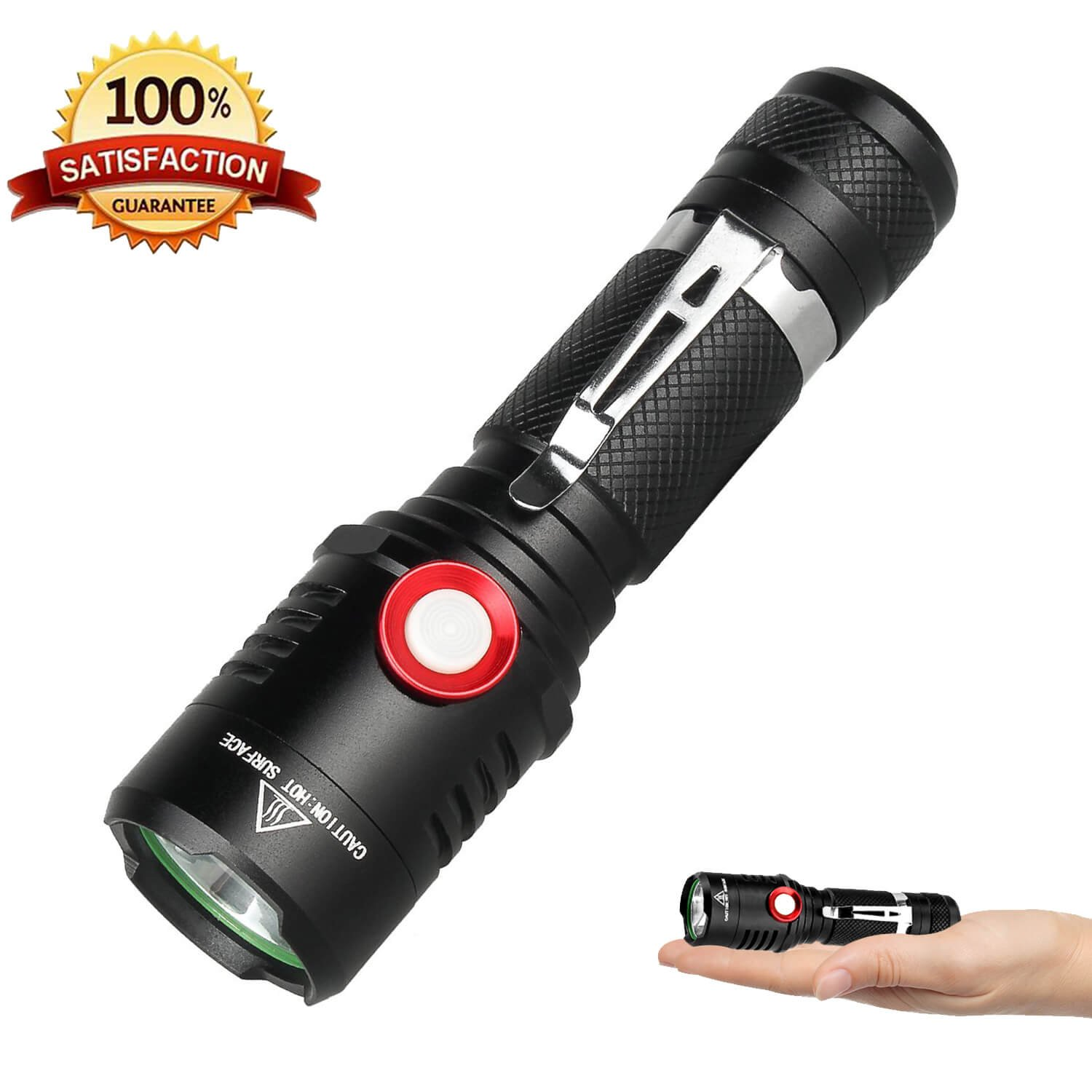 Rechargeable Tactical 18650 USB Flashlight, Powerful Cree XML2 Led Flashlights, Stepless Dimming Bright 1500 Lumens Waterproof Torch Light, Intelligent Power Indicator, Battery+Charge Cable Included by Helius (Image #1)