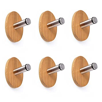 Adhesive Hooks, Oak Leaf 6 PCS Heavy Duty Wood &Stainless Steel Decorative  Stick Wall Hooks