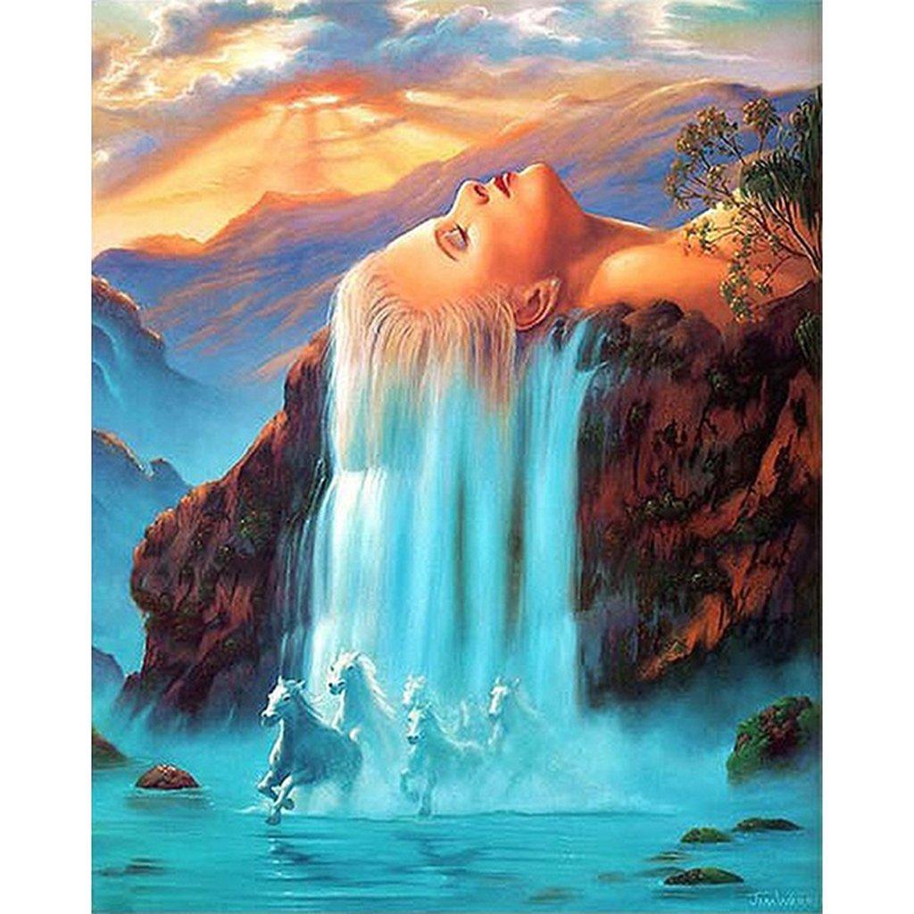 JAGENIE No-framed DIY Peinture par numéros Digital Peinture à l'huile Décoration Art Tête Cascade 40*50cm