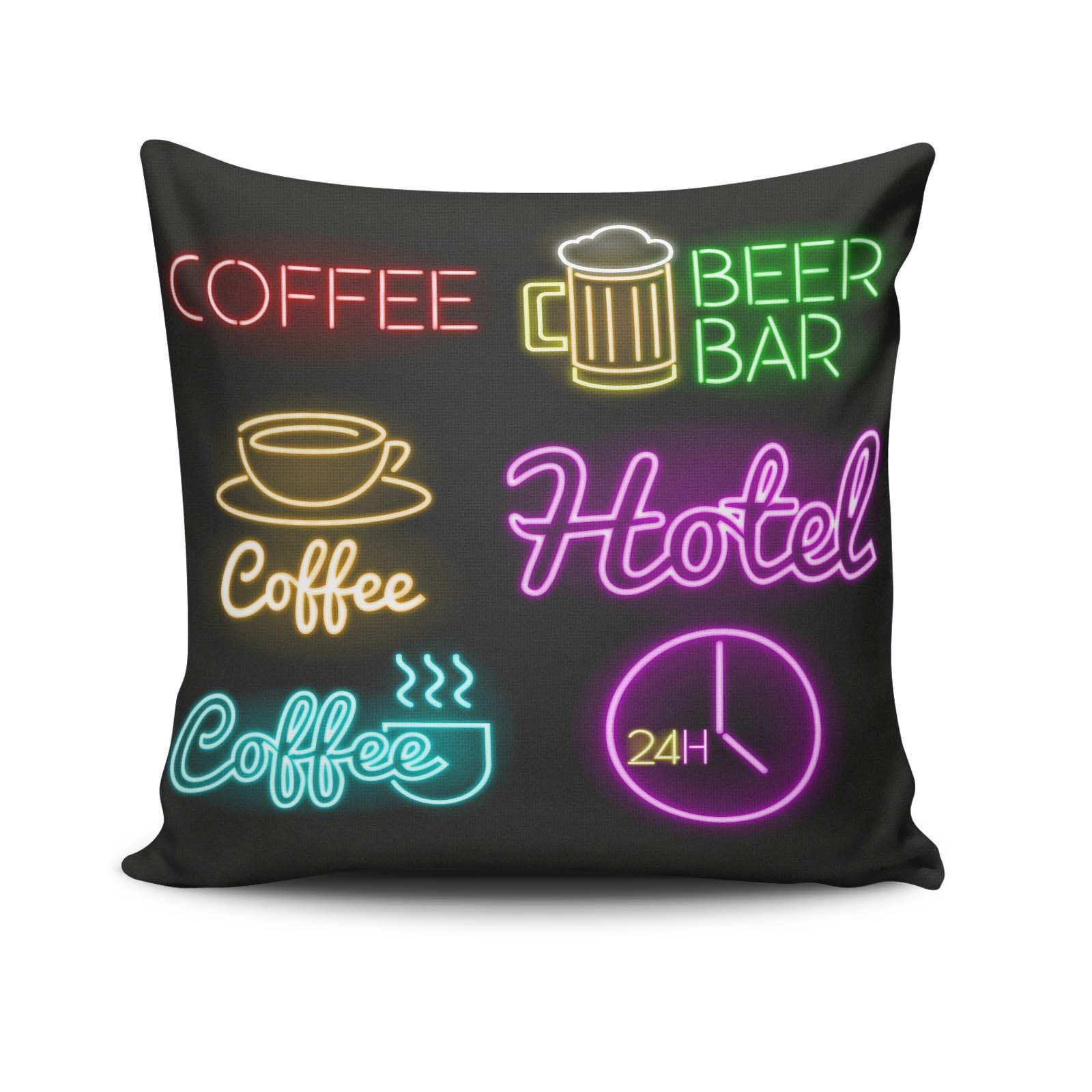 Premium Decorative Cushion Throw Pillow Hypoallergenic Stuffer Silicone Filling (17.5'' x 17.5'') | Coffee Beer Bar Hot Coffee Hotel Time Clock Twentyfour Hour Home 50% Cotton 50% Polyester Full with Si