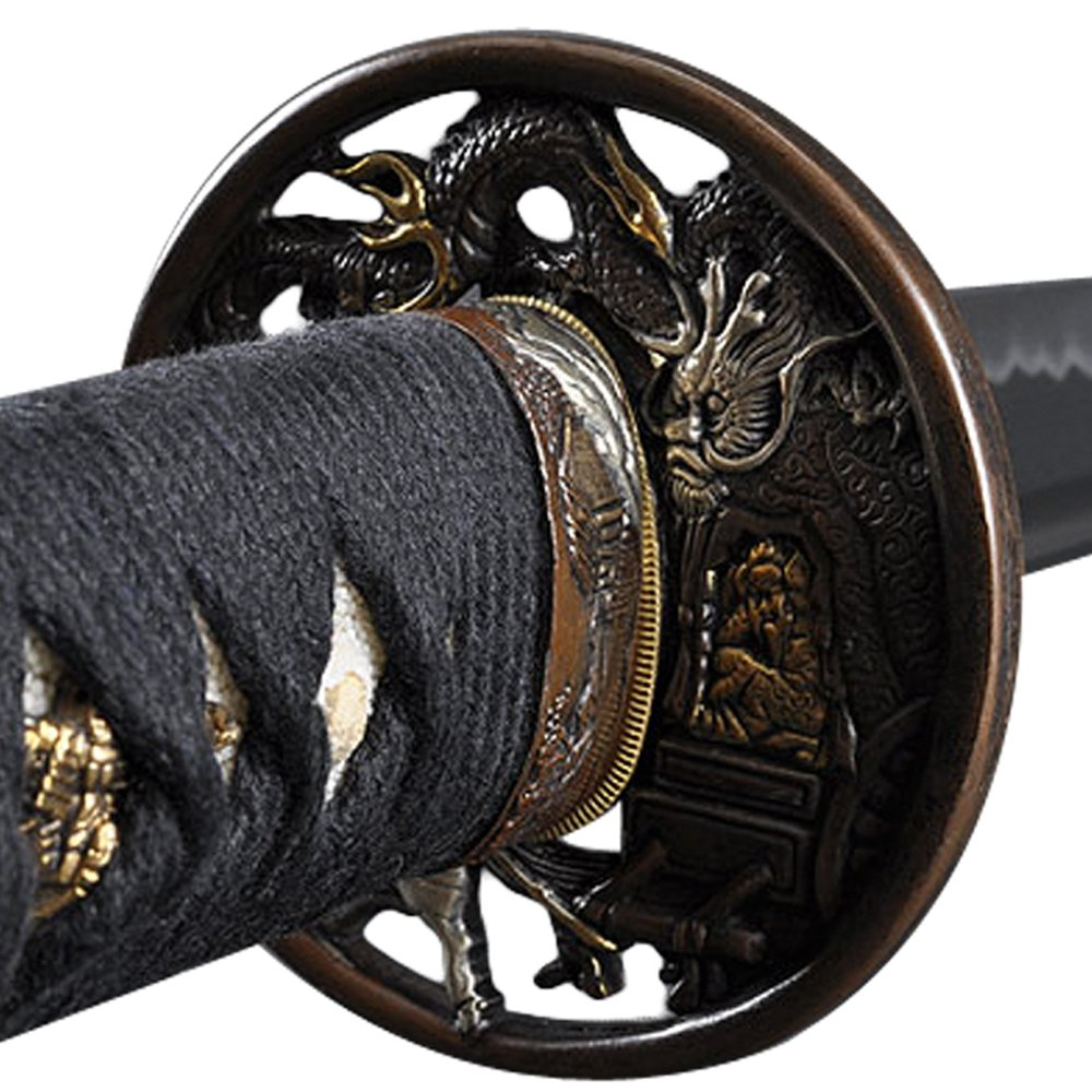 Handmade Sword - Samurai Katana Swords, Practical, Hand Forged, 1060 Carbon Steel, Heat Tempered, Full Tang, Sharp, Dragon Tsuba with Gold and Silver, Black Wooden Scabbard by Handmade Sword