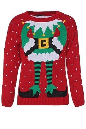 e1630e0867334 Fast Fashion - Célébrité Inspiré Elfe Imprimé Tricoté Pulls Noël - Femmes   Amazon.fr  Vêtements et accessoires