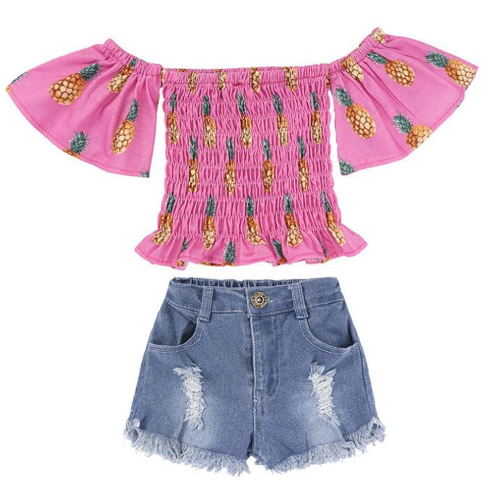 UNIQUEONE Kids Baby Girls Summer Short Sleeve T-Shirt Tops Jeans Pants Sets Outfits Size 6-12Months/Tag80 (Pink2)