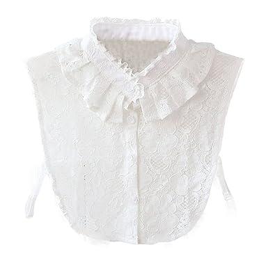 d498253aa10f46 Hanmorlla Frauen Kragen Abnehmbare Hälfte Shirt Bluse Damen Blusenkragen  Chiffon Peterpan Kragen Weiß Schwarz, Weiß