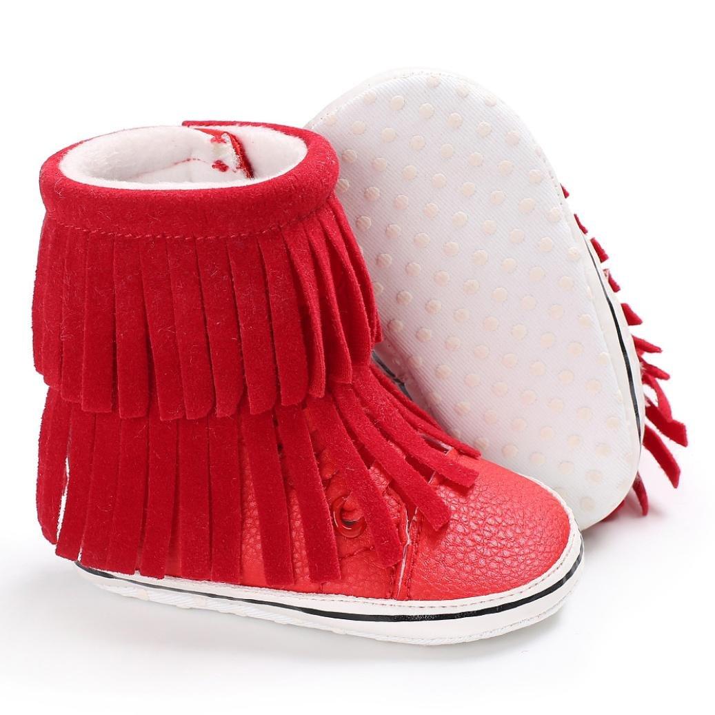 WARMSHOP Baby Girls Boys Soft Tassels Solid Anti-slip Warm Snow Crib Shoes