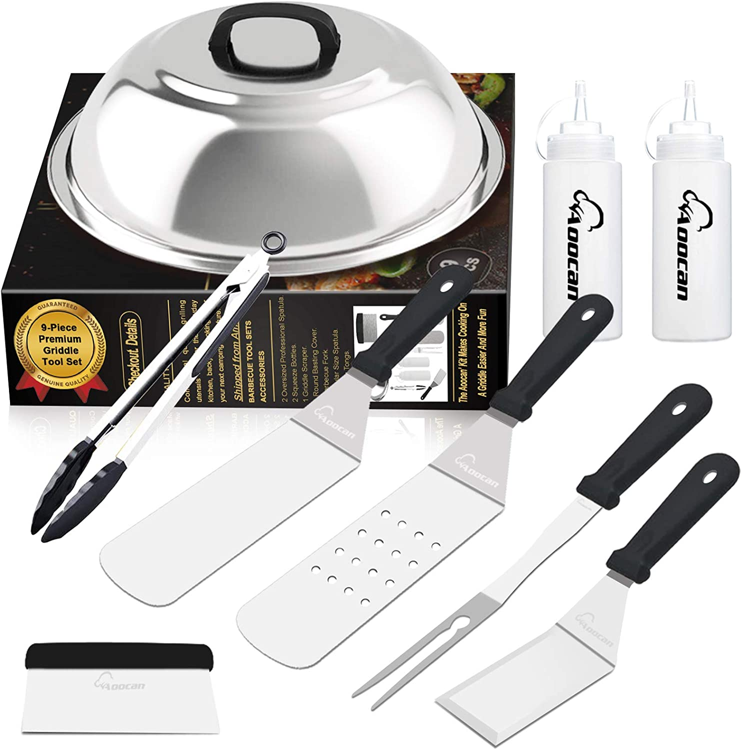 Aoocan Griddle Accessories Set, Flat Top Griddle Accessories, Grill Griddle Tools Cooking Kit with Heavy Duty Stainless Steel Scraper Spatula- Great for Flat top Cooking, Camping, Outdoor BBQ