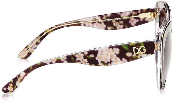 Dolce & Gabbana Damen Sonnenbrille DG4236 Almond Flowers Collection, Schwarz (Black Peach Flowers 28428G), One size (Herstellergröße: 56)