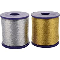 Generic Bhavya Zari Threads Golden and Silver for Beading Jewellery Making/Decorations/Crafts for Girls Pack of 2 Pieces