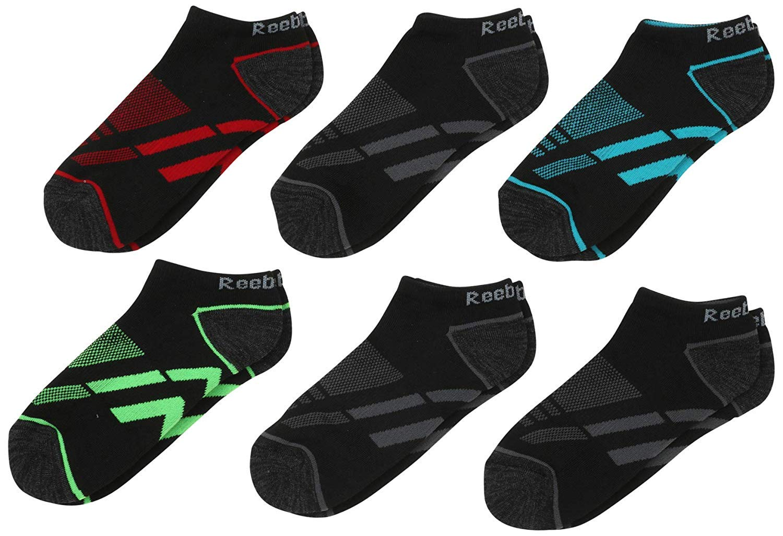'Reebok Boys' Cushion Comfort Low Cut Basic Socks (6 Pack), Geo Black, Size Large/Shoe Size: 4-10'