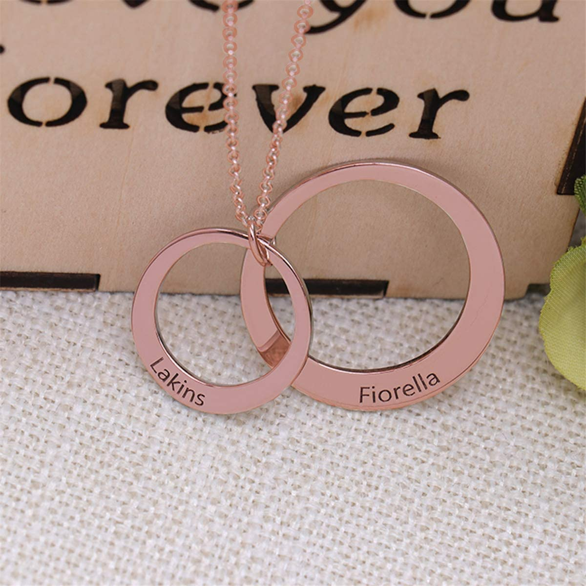 gfcrgaf Sterling Silver Personalized 2 Disc Name Necklace Engraved Two Pendant Jewelry