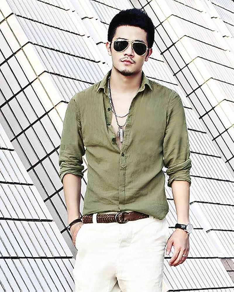 ShallGood Camicie Casual Uomo Maniche Lunghe Lino Stretch Traspirante Pulsanti Camicie Slim FCommercio Shirt Estiva Camicie da Spiaggia