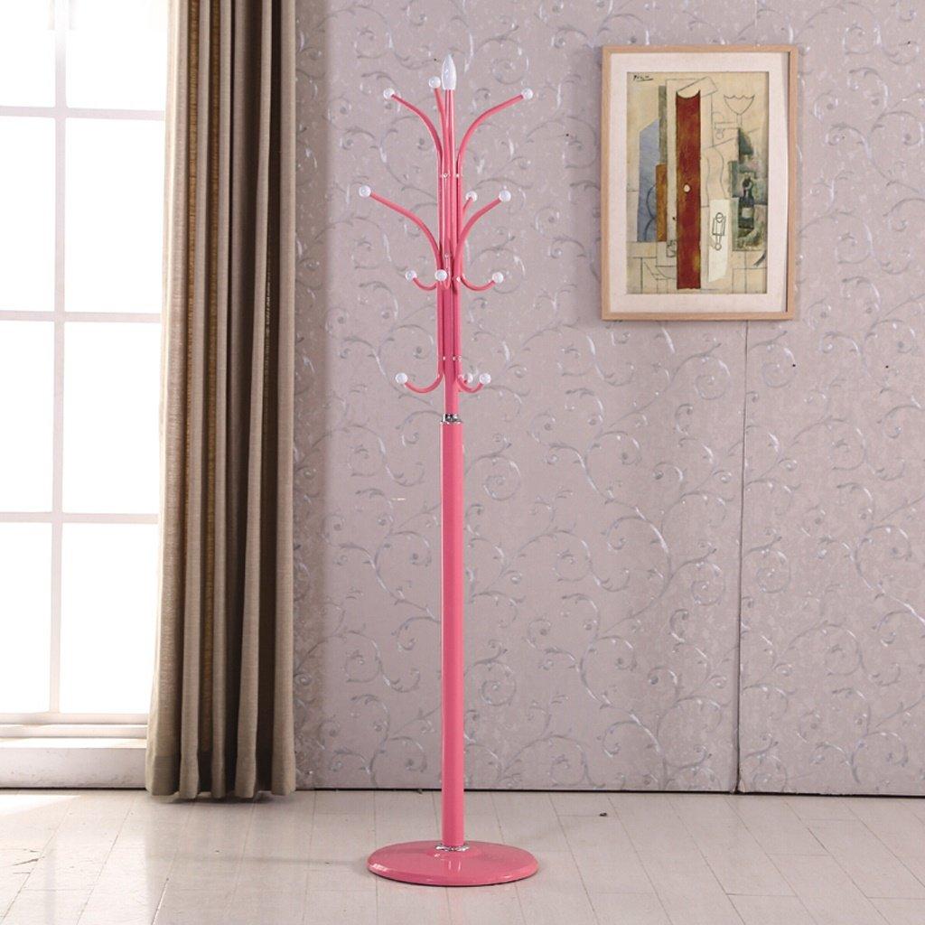 Peaceip 錬鉄製のコートラック寝室のリビングルームの服ラックフロアハンガークリエイティブモダンミニマリストハンガー(45 * 175 CM) (色 : ピンク) B07Q5XFF53 ピンク