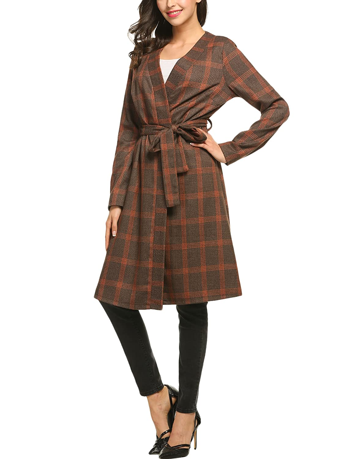 Zeagoo Women Fashion Collarless Long Sleeve Plaid Belted Long Coat Outwear ZTH007882_O_XL
