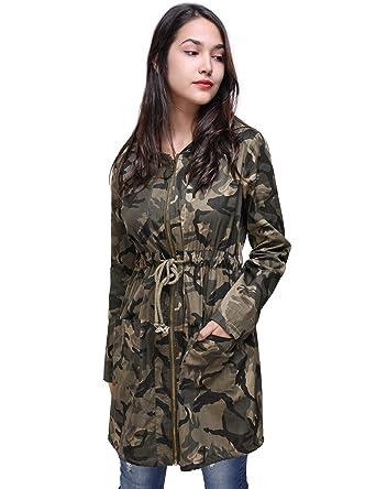 a1f9fd07efc28 Fancyqube Women's Drawstring Waist Hooded Coat Lightweight Camouflage Long  Windbreaker Jacket Outwear Multicolor, ...