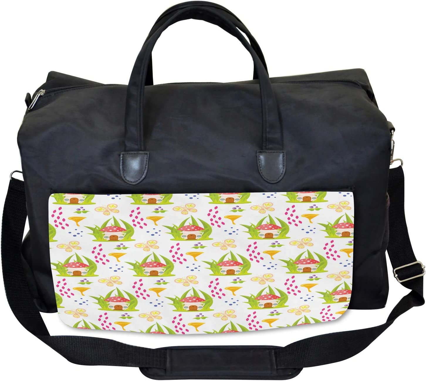 Ambesonne Kids Gym Bag Spring Forest Toadstool Large Weekender Carry-on