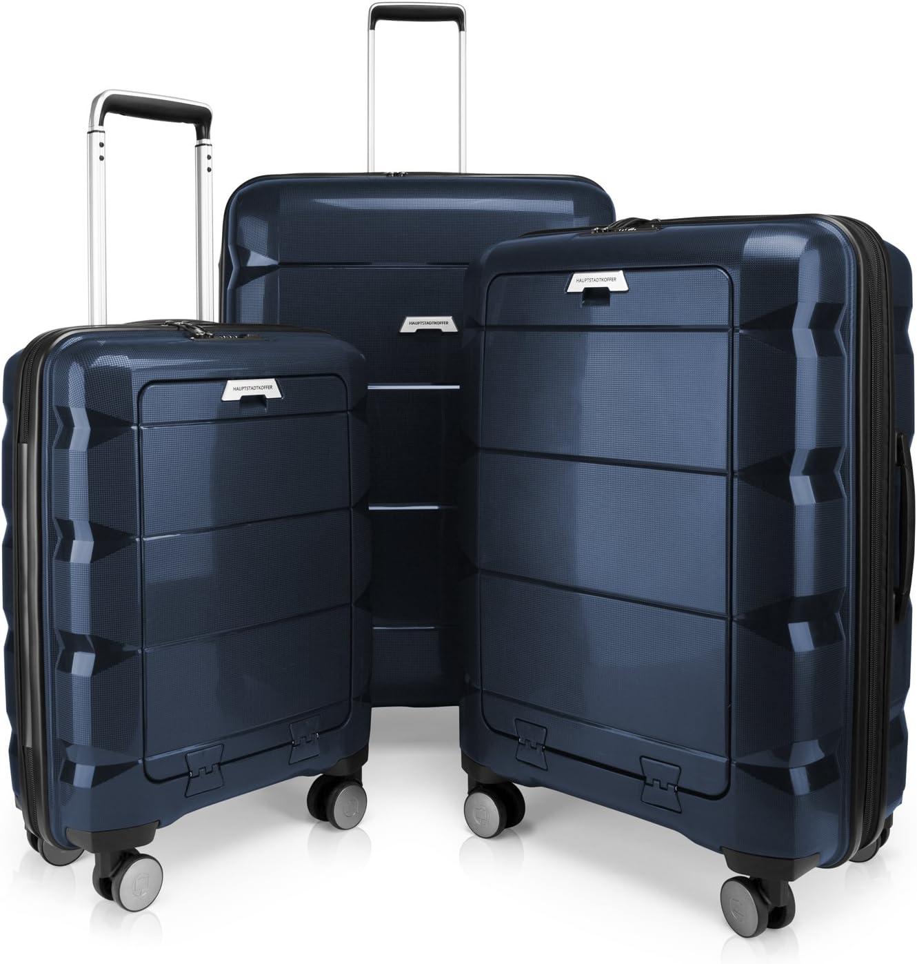HAUPTSTADTKOFFER - BRITZ - Juego de 3 Piezas (55 cm, 66 cm, 75 cm), Maleta rígida giratoria, Trolley, TSA, 4 rudeas – Azul Oscuro