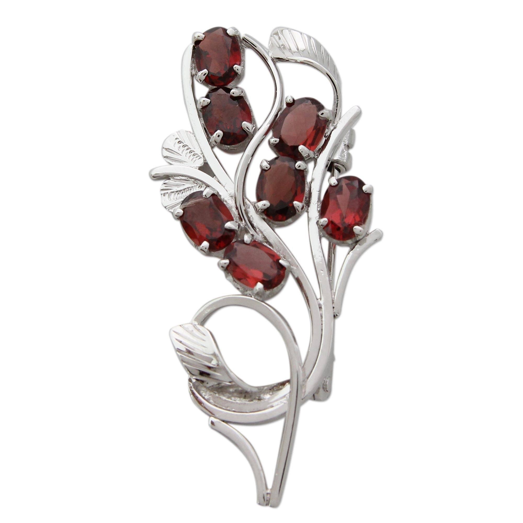 NOVICA Garnet .925 Sterling Silver Brooch 'Crimson Bouquet