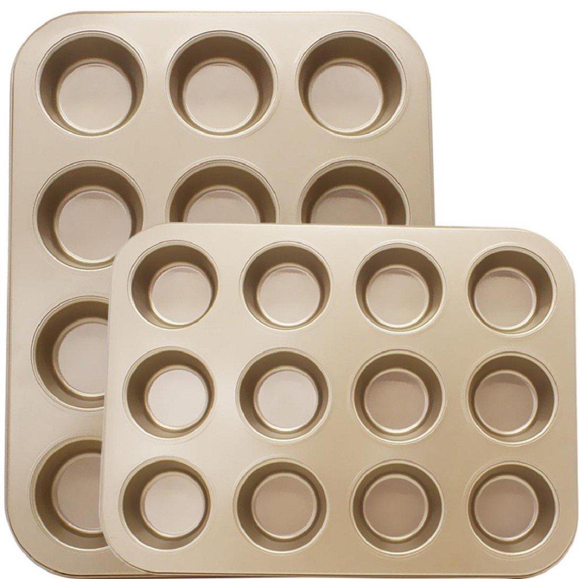 Naladoo 12 Cups Mini Muffin Bun Cupcake Baking Bakeware Mould Tray Pan/mold Kitchen,Freezer and Dishwasher Safe