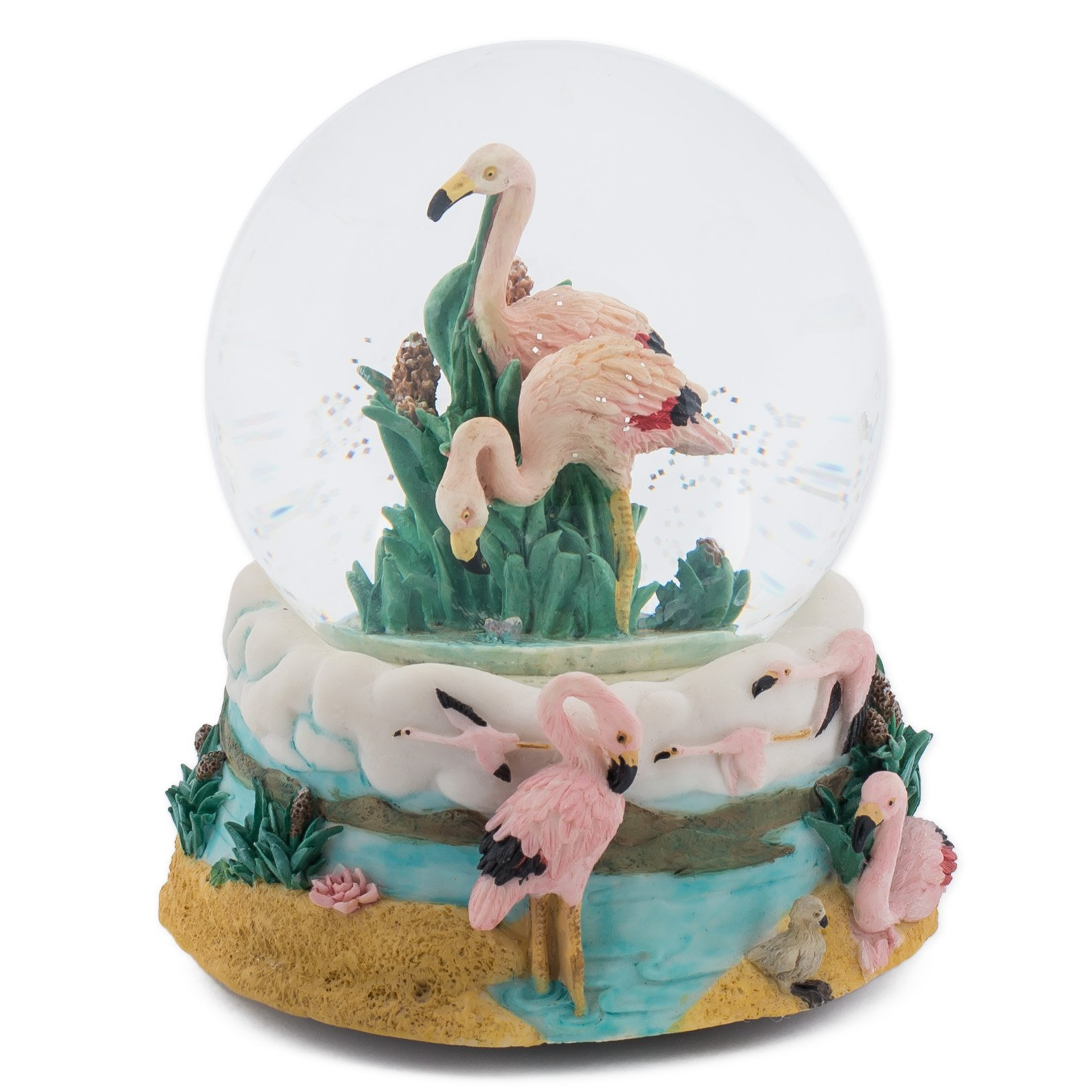 Pink Flamingos 100MM Music Water Globe Plays Tune Talk to the Animals