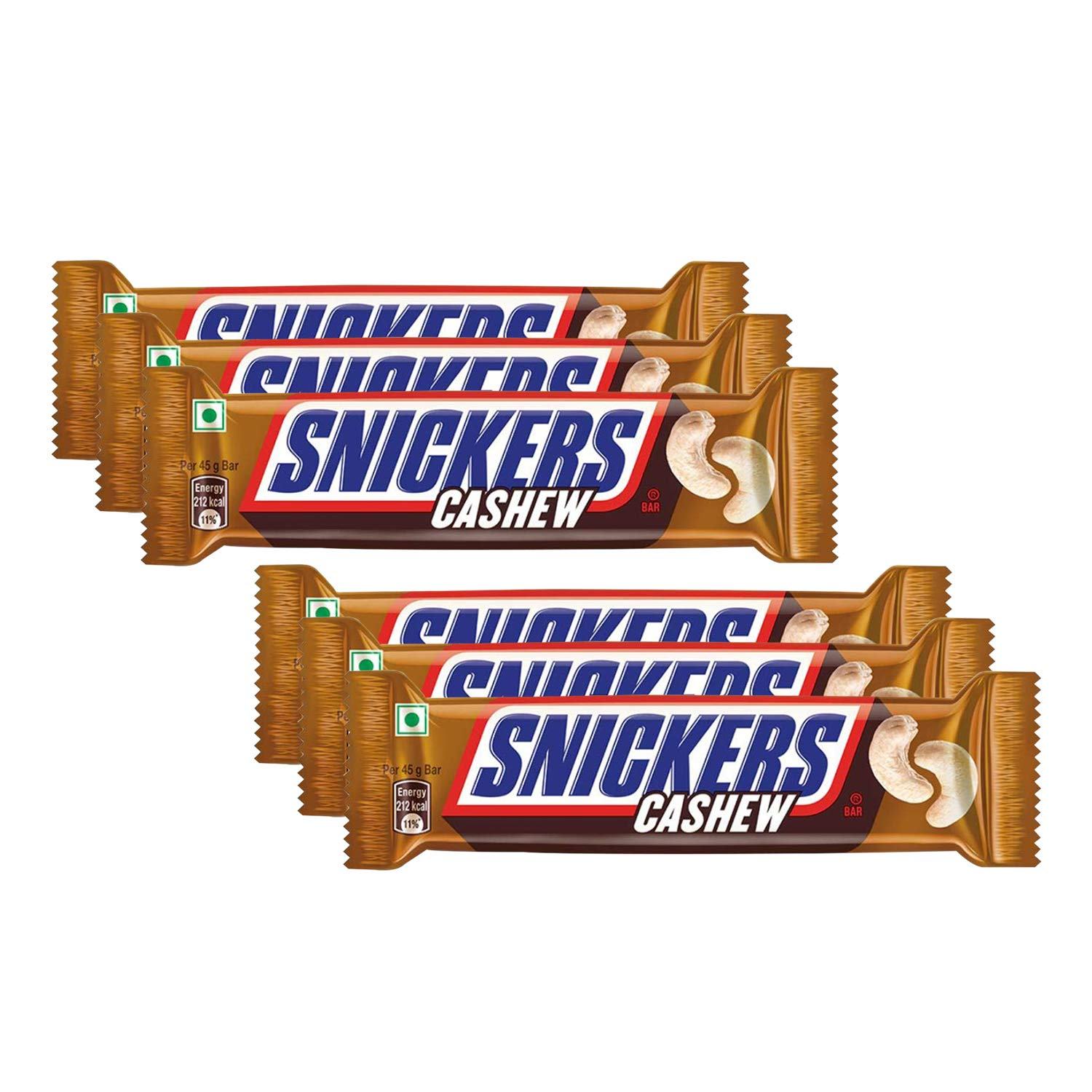 Snickers Cashew Filled Chocolate Bars 45gm x Pack of 6