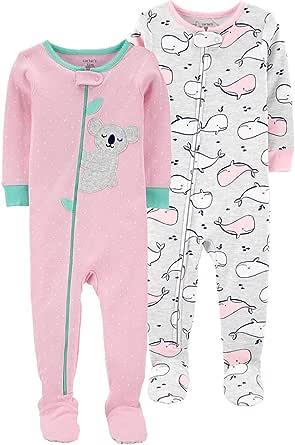 Carter's Pijama de algodón con pies para niñas pequeñas 2 Unidades