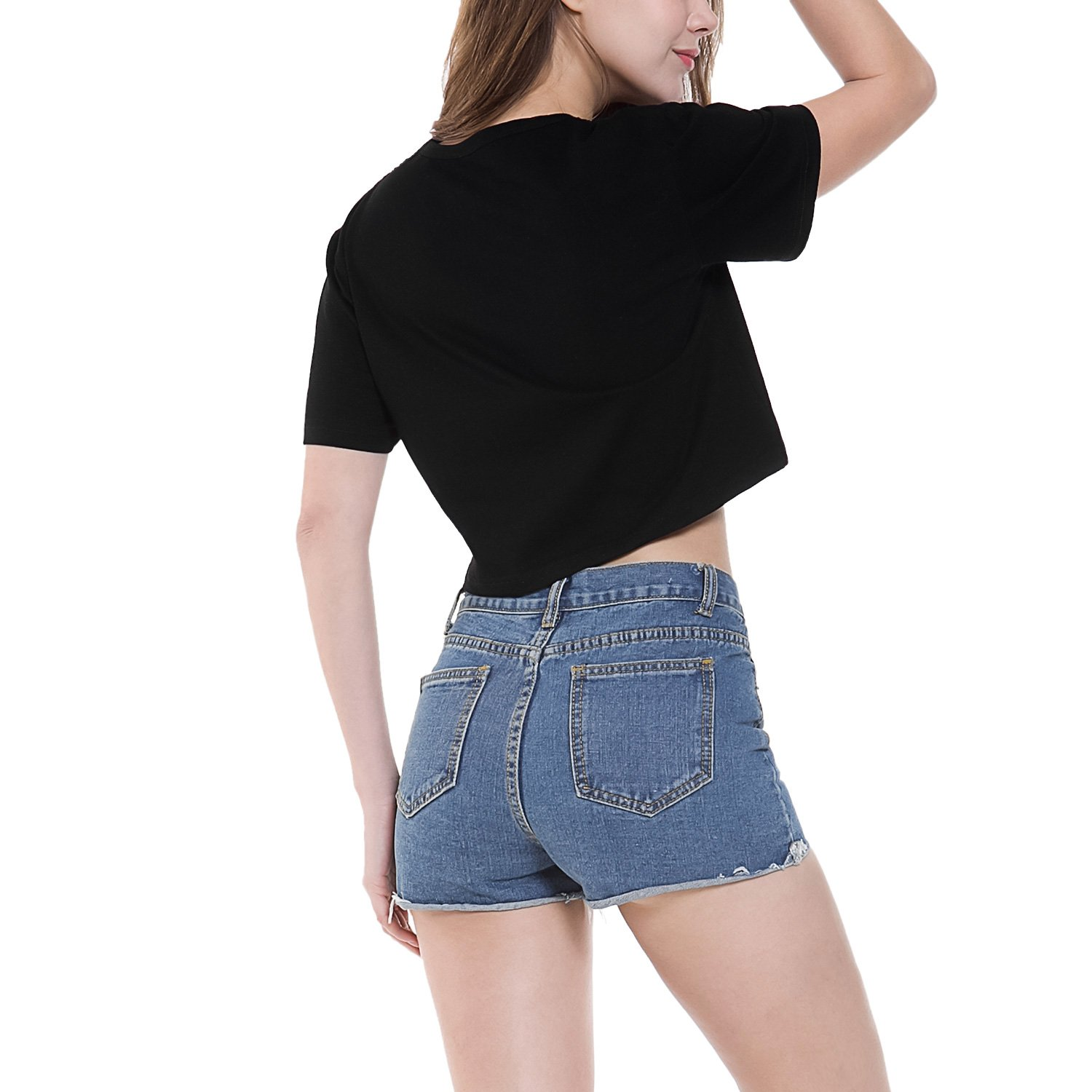 short sleeve crop tops for women Black Large by Perfashion (Image #2)