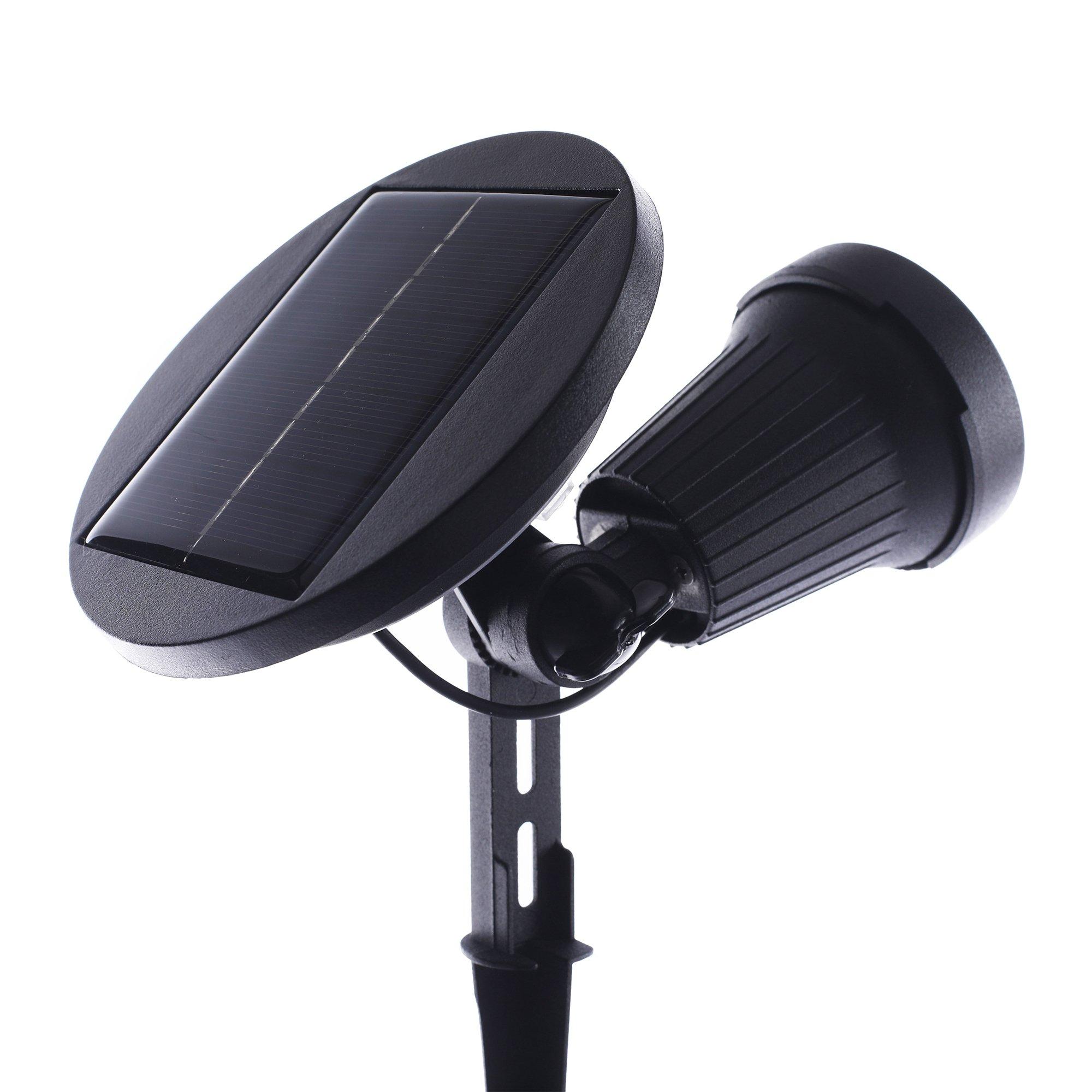 Davinci Solar Spotlight - Premium Aluminum Outdoor Spot Light for Landscape Wall, or Garden Lighting - Bright Warm White LED, Solar Powered Lights, Wireless Spotlights