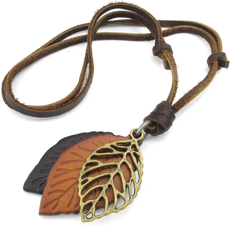 TOOGOO(R) Collar Collar de joyeria de Hombres Mujeres, Hoja, tamanos Ajustables Colgante de aleacion con Cadena de Cuero