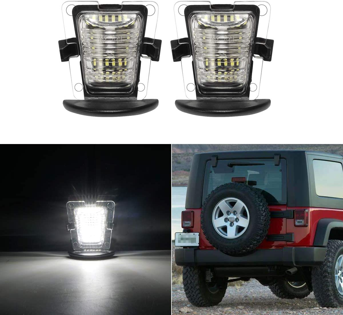 LITTOU 2X LED Kennzeichenbeleuchtung 18 SMD LED CANBUS Error Free Kompatibel f/ür Wrangler JK JKU 2007-2018