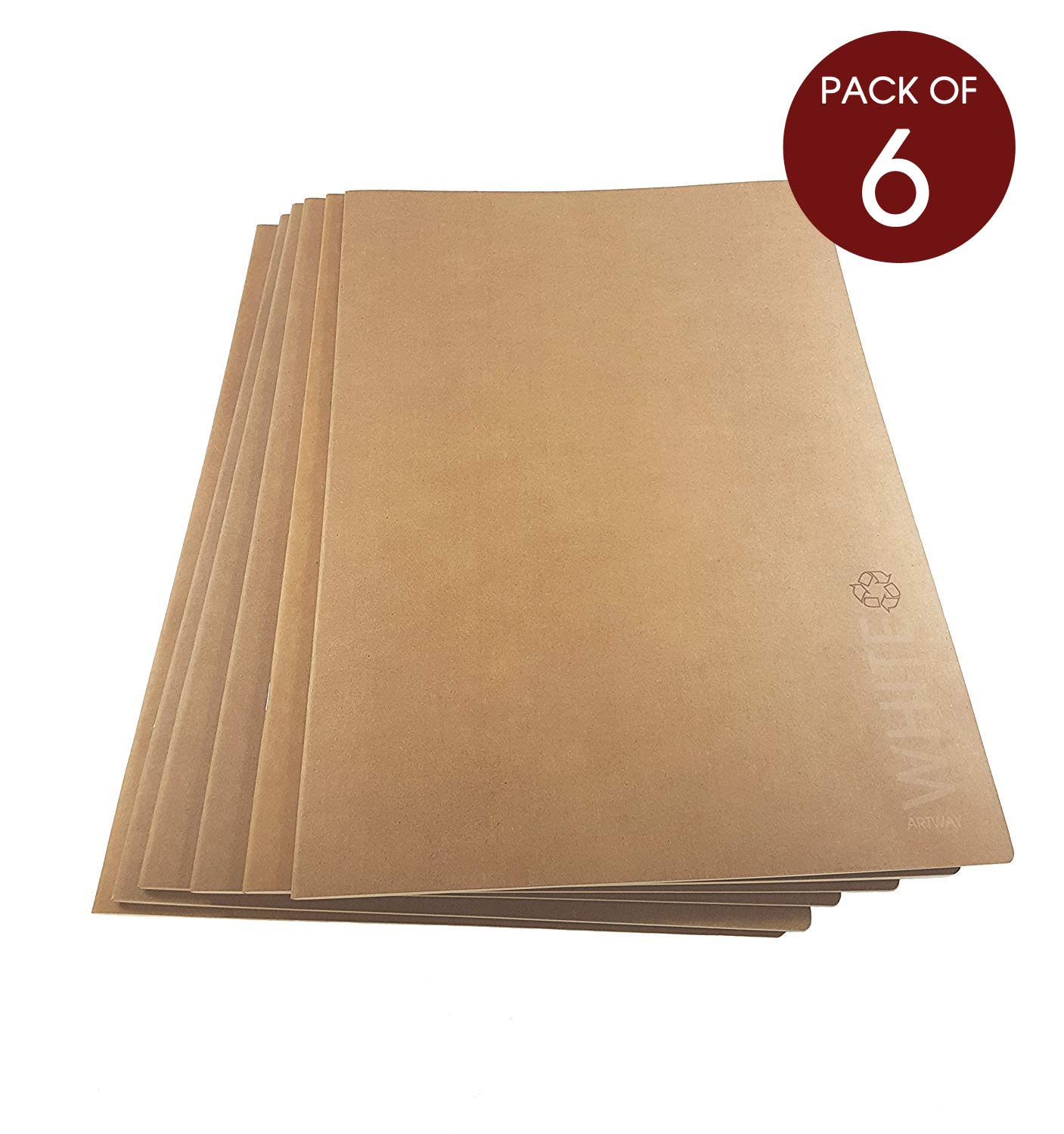 Artway - Softback Sketchbook - White Cartridge Paper with Kraft Paper Cover - Recycled - 130gsm 28 Sides - A3 (6 books) Artway Ltd