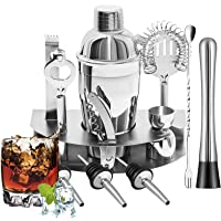 Roccar Cocktail Shaker Set - 12 Piece Bartender Kit Bar Tool with Bar Accessories, Stand, Stainless Steel Martini Mixer…